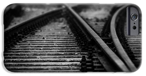 Business Pyrography iPhone Cases - Railway in black and white iPhone Case by Oliver Sved