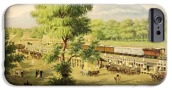 Rail iPhone Cases - Railway In The Valley Of Mexico, 1869 Oil On Canvas iPhone Case by Luiz Coto