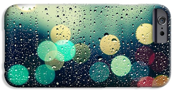 Rain iPhone Cases - Rain and the city iPhone Case by Beata  Czyzowska Young