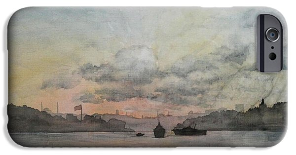 Sun Rays Paintings iPhone Cases - Rain Approaching the Golden Horn iPhone Case by Rebecca Davis