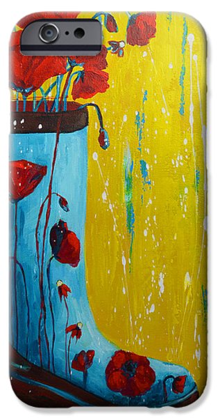 Rain Boot Series Unusual Flower Pots iPhone Case by Patricia Awapara