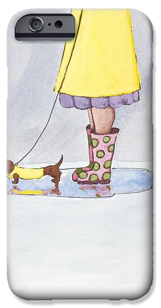 Child Drawings iPhone Cases - Rain Boots iPhone Case by Christy Beckwith