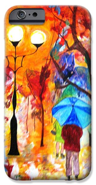 Michelle Mixed Media iPhone Cases - Rain Dance of Color iPhone Case by MIchelle Reid