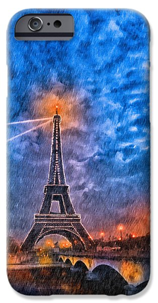 Night Lamp iPhone Cases - Rain Falling On The Eiffel Tower At Night In Paris iPhone Case by Mark Tisdale