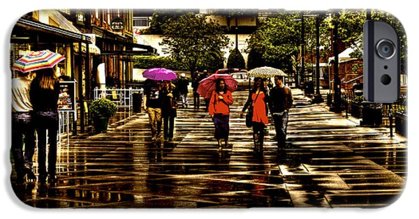 Rita iPhone Cases - Rain in Market Square - Knoxville Tennessee iPhone Case by David Patterson