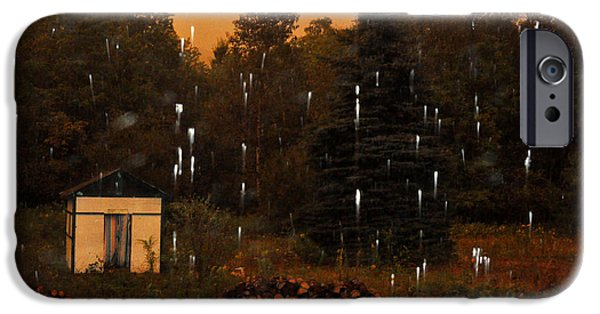 Rainy Day iPhone Cases - Rain in the Adirondacks iPhone Case by Diane Lent