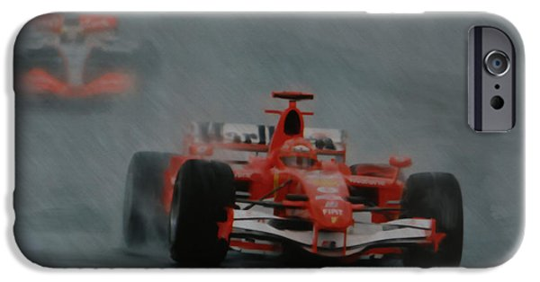 Michael Schumacher iPhone Cases - Rain Master iPhone Case by Roger Lighterness