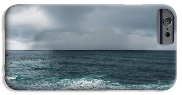 Rainy Day iPhone Cases - Rain Over the Ocean iPhone Case by Parker Cunningham