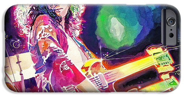 Jimmy Page Paintings iPhone Cases - Rain Song Jimmy Page iPhone Case by David Lloyd Glover