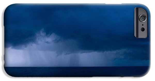Storm iPhone Cases - Rain Squalls At The Sea, Negril iPhone Case by Panoramic Images