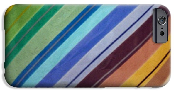 Stripes Glass iPhone Cases - Rainbo in fused glass iPhone Case by Marsha Painter