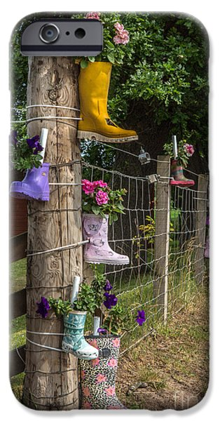Commercial Photography iPhone Cases - Rainboots Flowerpots iPhone Case by Iris Richardson