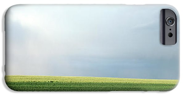 Horizon Over Land iPhone Cases - Rainbow And Storm Clouds Over A Field iPhone Case by Panoramic Images