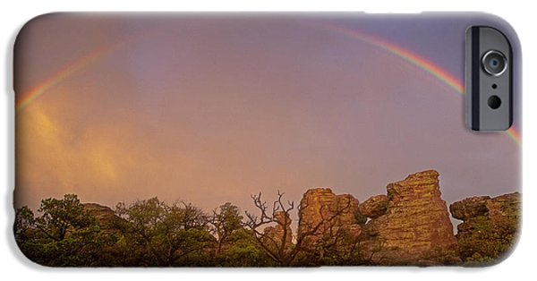 Strange iPhone Cases - Rainbow at Chiricahua iPhone Case by Keith Kapple