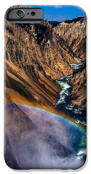 Yellowstone National Park iPhone Cases - Rainbow at the Grand Canyon Yellowstone National Park iPhone Case by Edward Fielding