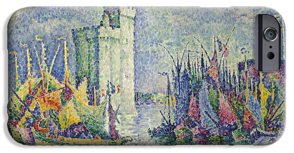 Boats At The Dock iPhone Cases - Rainbow at the Port of La Rochelle iPhone Case by Paul Signac