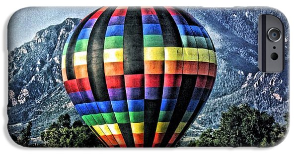 Hot Air Balloon iPhone Cases - Rainbow balloon iPhone Case by Christina Perry