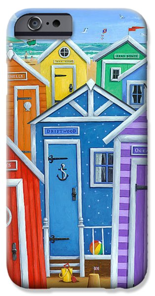 Shed iPhone Cases - Rainbow Beach Huts iPhone Case by Peter Adderley