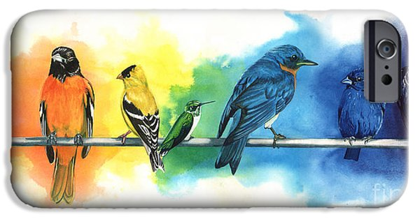 Bluebird iPhone Cases - Rainbow Birds iPhone Case by Antony Galbraith