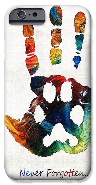 Hand iPhone Cases - Rainbow Bridge Art - Never Forgotten - By Sharon Cummings iPhone Case by Sharon Cummings