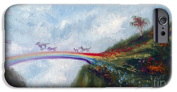 Dog iPhone Cases - Rainbow Bridge iPhone Case by Stella Violano