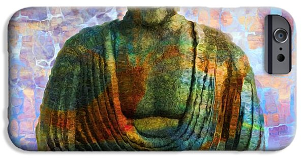 Buddhism Mixed Media iPhone Cases - Rainbow Buddha iPhone Case by Dan Sproul