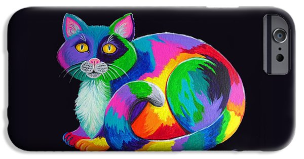 Cat Art iPhone Cases - Rainbow Calico iPhone Case by Nick Gustafson