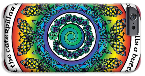 Celtic Spiral iPhone Cases - Rainbow Celtic Butterfly Mandala iPhone Case by Celtic Artist Angela Dawn MacKay