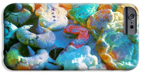 Cut-outs iPhone Cases - Rainbow Colored Cookies iPhone Case by Kathleen Struckle