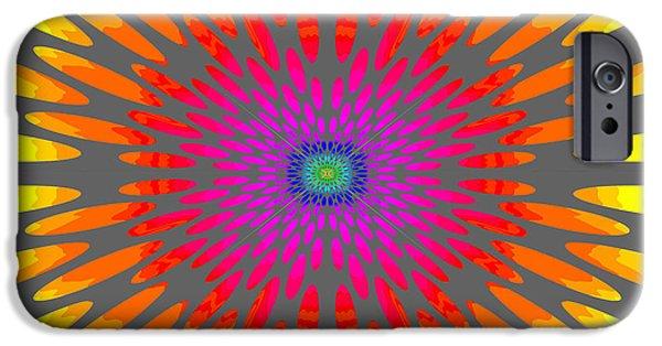 Tibetan Buddhism iPhone Cases - Rainbow Daisy Mandala  c2014  iPhone Case by Paul Ashby