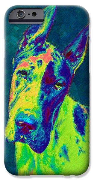 Great Dane Puppy iPhone Cases - Rainbow Dane iPhone Case by Jane Schnetlage