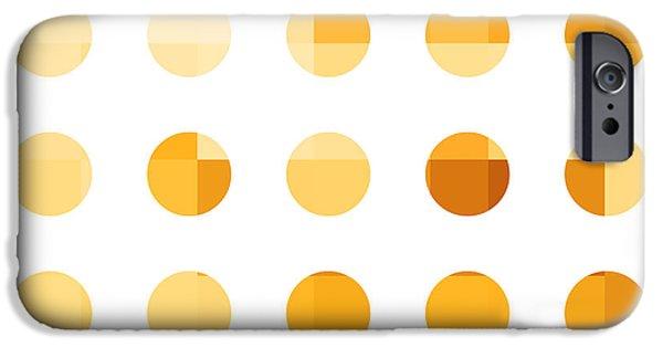 Business Digital Art iPhone Cases - Rainbow Dots Orange iPhone Case by Pixel Chimp
