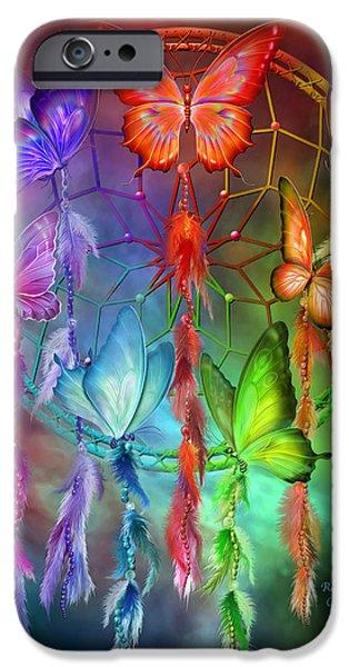 Dreamcatcher iPhone Cases - Rainbow Dreams iPhone Case by Carol Cavalaris