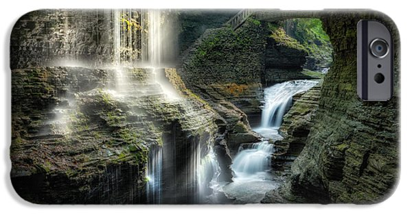 Watkins Glen iPhone Cases - Rainbow Falls iPhone Case by Bill  Wakeley