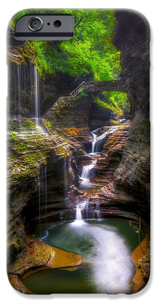 Fall iPhone Cases - Rainbow Falls of Watkins Glen iPhone Case by Mark Papke