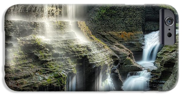 Watkins Glen iPhone Cases - Rainbow Falls Square iPhone Case by Bill  Wakeley