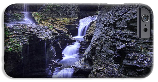 Cathedral Rock iPhone Cases - Rainbow Falls Watkins Glen State Park iPhone Case by Allen Beatty