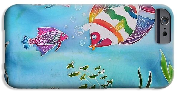Child Tapestries - Textiles iPhone Cases - Rainbow Fish Variation iPhone Case by Jamie Schab