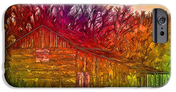 Old Barns iPhone Cases - Rainbow Flame Trees With Abandoned Barn iPhone Case by Joel Bruce Wallach