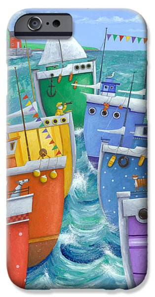 Sailboats iPhone Cases - Rainbow Flotilla iPhone Case by Peter Adderley