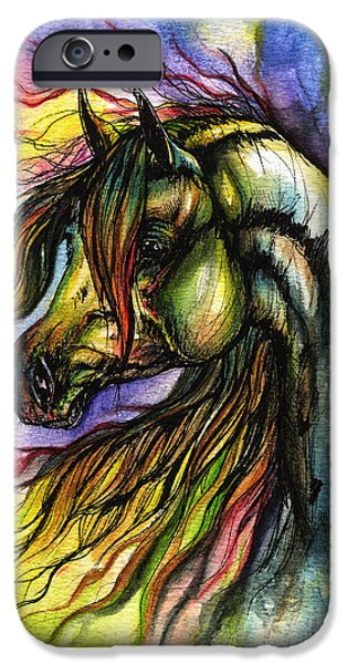 Mammals Drawings iPhone Cases - Rainbow Horse 2 iPhone Case by Angel  Tarantella
