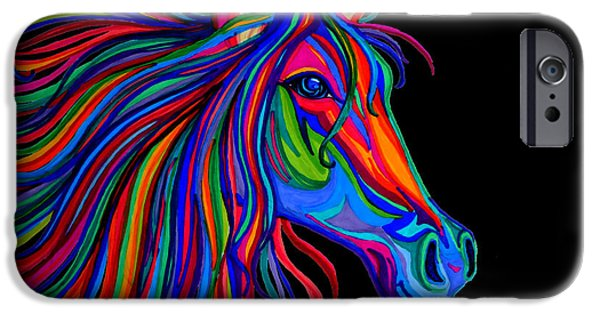 Horse iPhone Cases - Rainbow Horse Head iPhone Case by Nick Gustafson