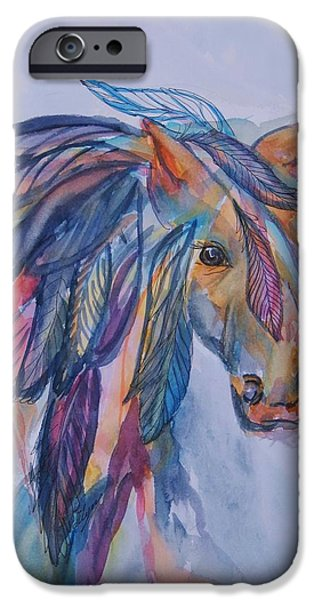 The Horse iPhone Cases - Rainbow Horse Spirit iPhone Case by Ellen Levinson