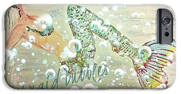 Marine iPhone Cases - Rainbow Mermaid Bubbles  iPhone Case by ARTography by Pamela  Smale Williams