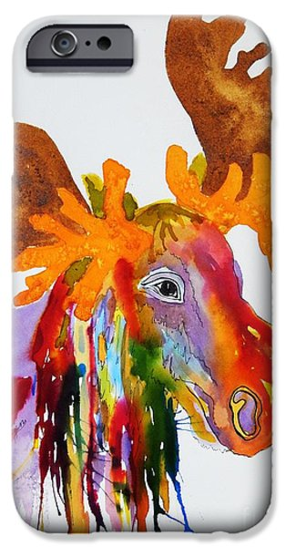 Splashy Paintings iPhone Cases - Rainbow Moose Head  - Abstract iPhone Case by Ellen Levinson