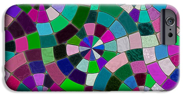 Mosaic iPhone Cases - Rainbow Mosaic iPhone Case by Kurt Van Wagner