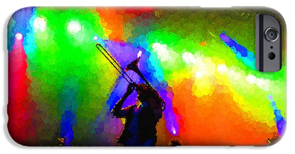 Limelight iPhone Cases - Rainbow Music - Trombone Solo in the Limelight iPhone Case by Georgia Mizuleva
