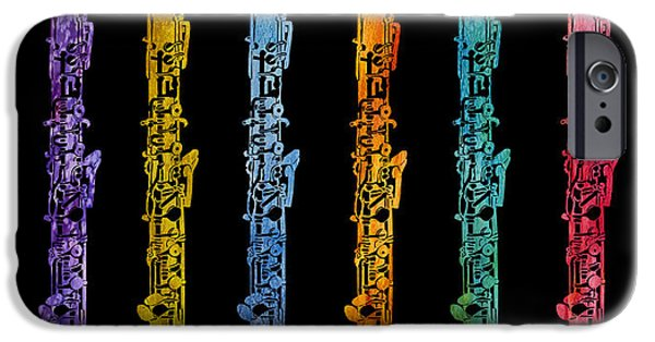 Orchestra iPhone Cases - Rainbow of Oboes iPhone Case by Jenny Armitage