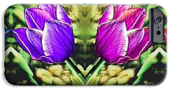 Prismatic Paintings iPhone Cases - Rainbow of Tulips iPhone Case by Bruce Nutting