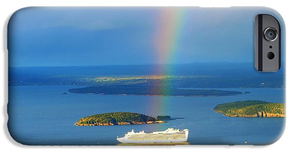 Nation iPhone Cases - Rainbow on the ship in Acadia National Park Maine iPhone Case by Paul Ge